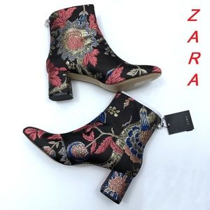 Zara Multi-Color Mid Heel Jacquard New Ankle Boots